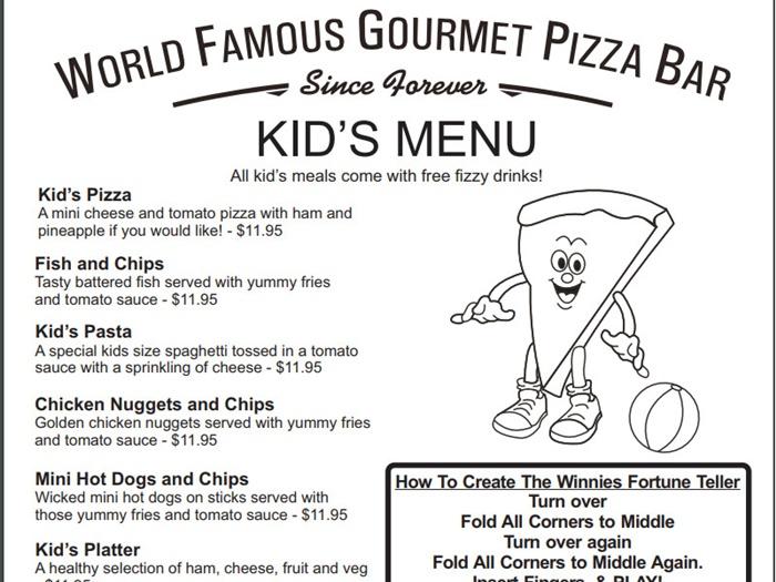 ウィニーグルメピザのキッズメニュー