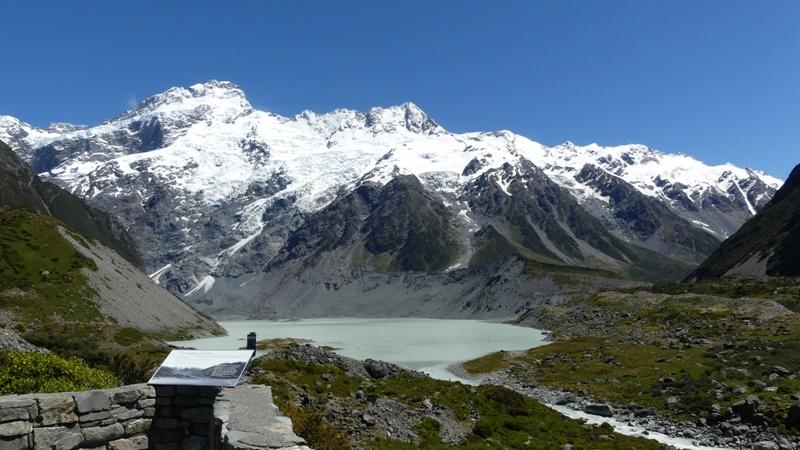 フッカーバレートラック第一のミューラー氷河湖見晴らし台