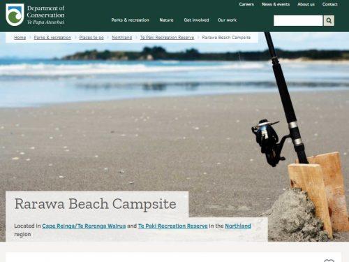 Rarawa Beach Campsiteの説明サイト