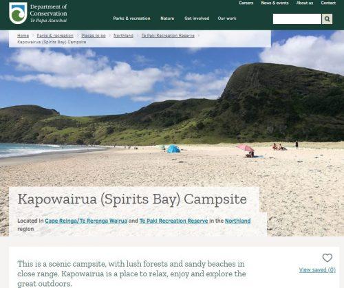 Spirits Bay camsiteの説明サイト