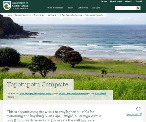 Tapotupotu-Campsiteの説明サイト
