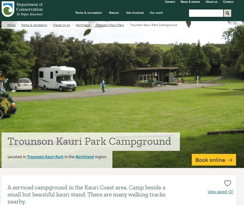トラウンソン・カウリパーク・キャンプサイトDOCページ